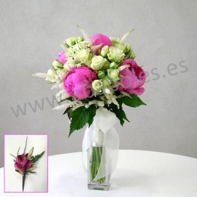 Bouquet de Peonías Fucsias y Rosa Ramificada
