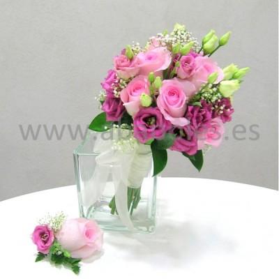Bouquet de Rosas y Lisianthus