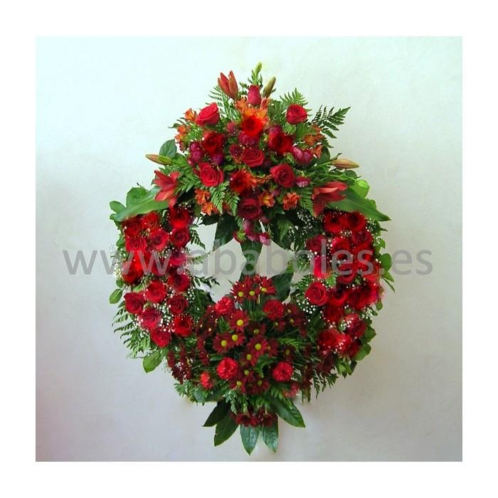 Corona Funeraria con Rosas Rojas
