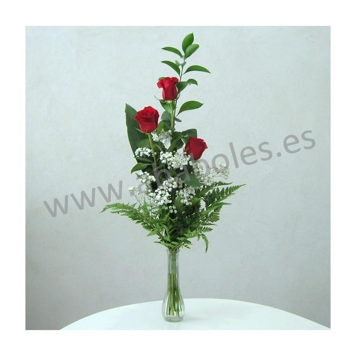 3 Rosas Rojas en cristal