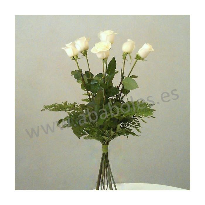 Ramo de 6 Rosas Blancas