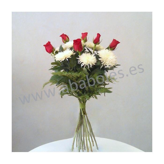 Ramo de Rosas Rojas y Anastasia Blanca.