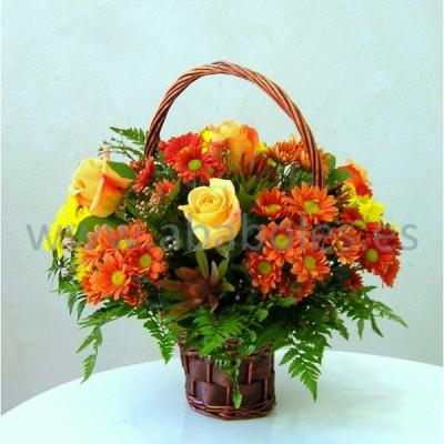Cesta de flores otoñal